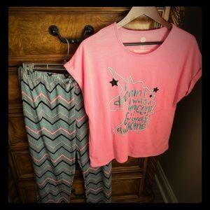 Other - Girls Plus Size Unicorn Pajama Set